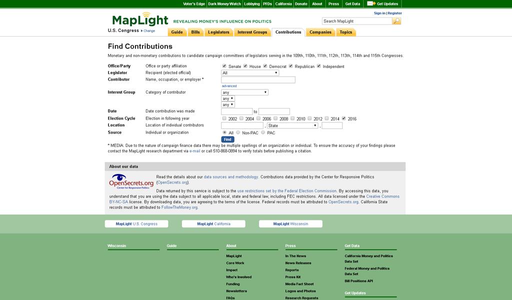 MapLight - Contributions