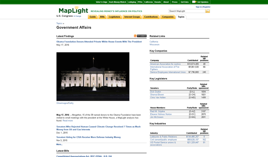 MapLight - Government affairs