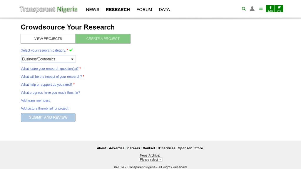Transparent Nigeria - Create