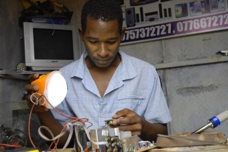 Village Electrician Using Solar Product